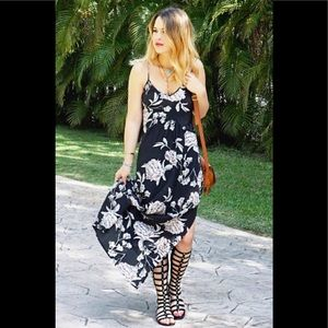 Yumi Kim Alyssa Dress 100% Silk Black Floral Med